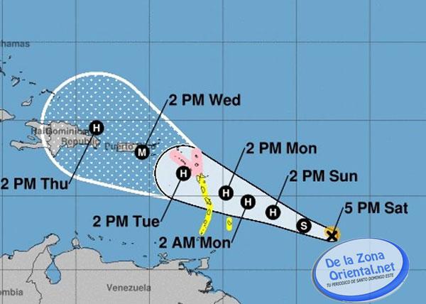 ONAMET mantiene alerta ante desplazaniento del huracán María por el Mar Caribe